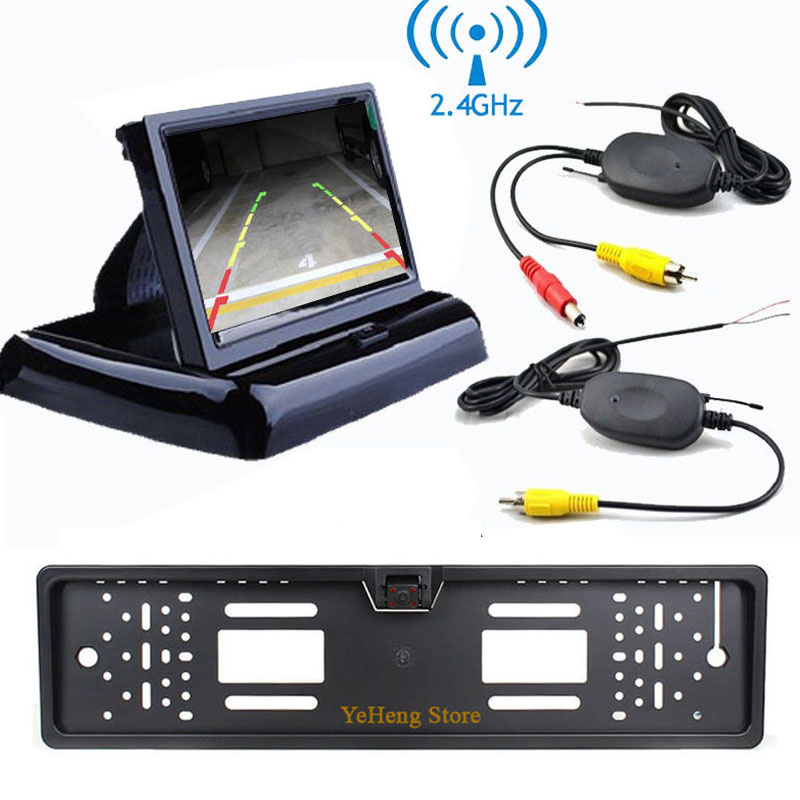 YeHeng Store 4.3 Foldable TFT LCD Monitor 2.4Ghz Wireless Car Reverse Back Up 4 IR NightVision License Plate Frame Camera Kit