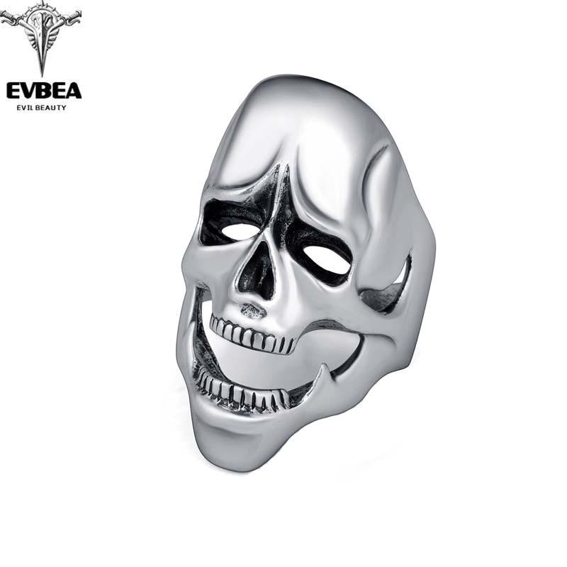 Black Friday Rock Roll kpop Silver Gothic Punk Gag Skull Big Adjustable Rotating Bikers Bible Rings Mens & Boys Jewelry