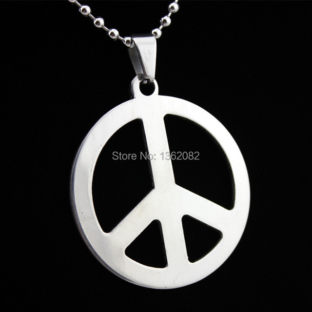 Fashion silver tone stainless steel peace sign pendant necklace gift fashion silver tone stainless steel peace sign pendant necklace gift mn207 mozeypictures Image collections