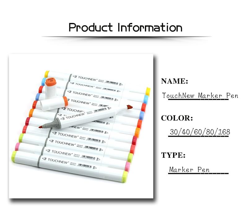 Touchnew marcadores de esboço conjunto 168 cores