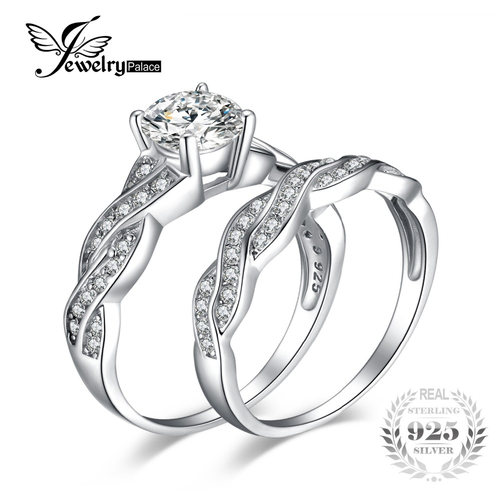 Brilliant Dazzling AAA Cubic Zirconia Bridal Engagement Wedding Ring Set For Women 925 Sterling Silver Band