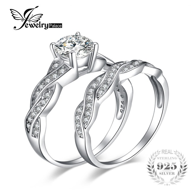 JewelryPalace Infinity 1.5ct Cubic Zirconia Anniversary Promise Wedding Band Engagement Ring Bridal Sets 100 925 Sterling Silver
