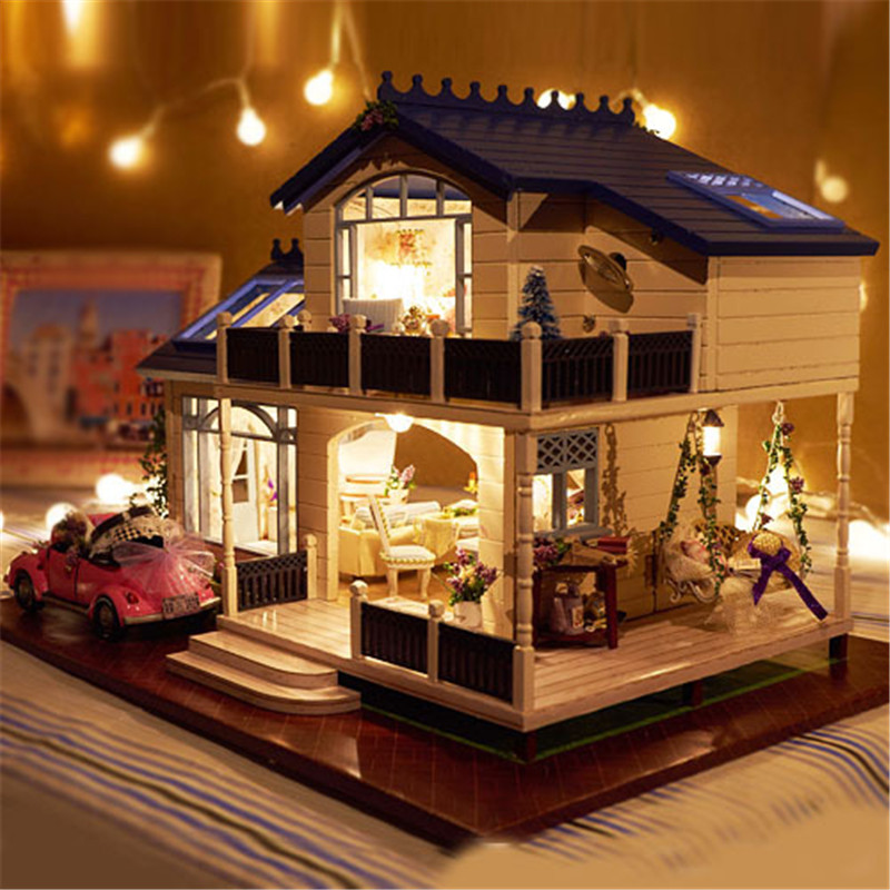 New Doll House Toy Miniature Wooden Doll House Loft With: Assembling DIY Model Kit Wooden Doll House Romantic