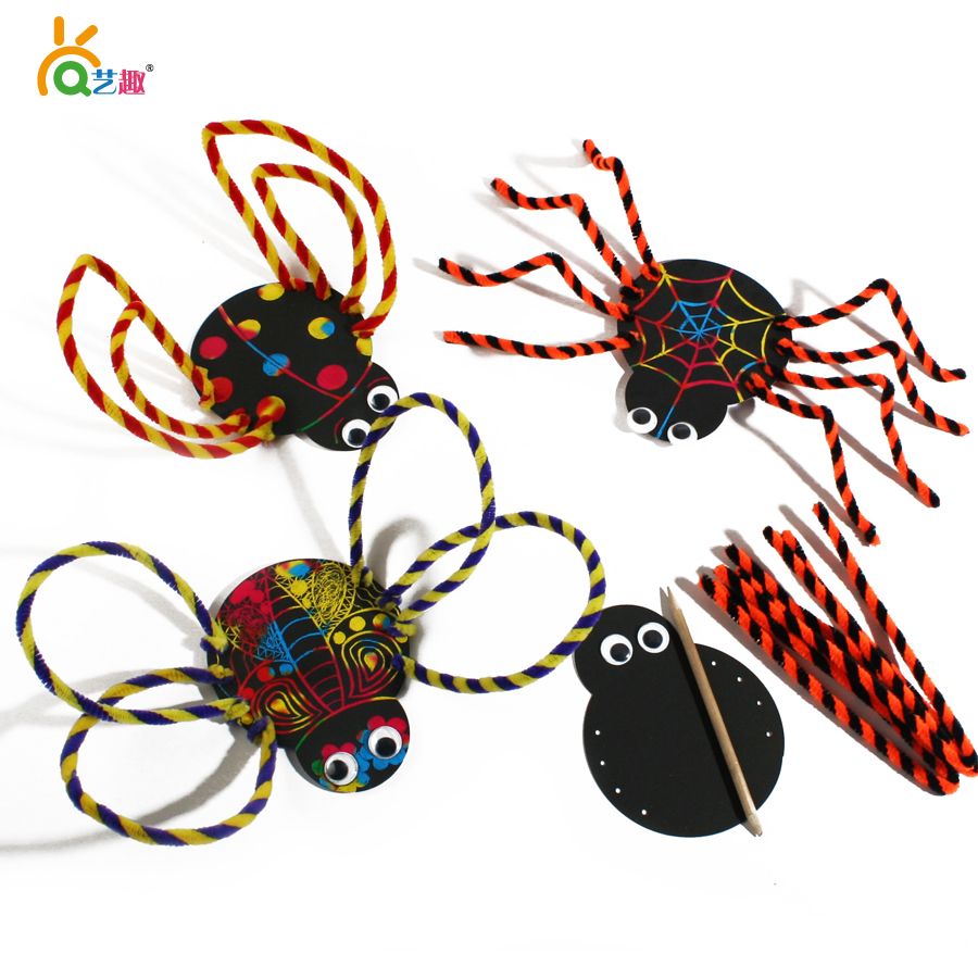8 PCs Kids Child cartoon scraping paintings/ Children DIY Halloween spider insect decoration toys/ Kindergarten handmade craft