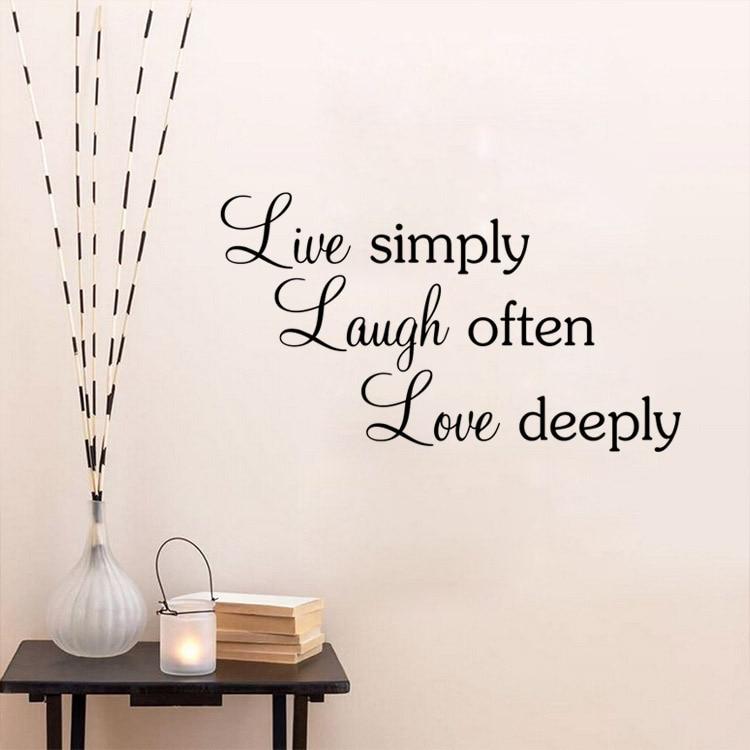 Us 24 25 Offfreies Verschiffen Zitate Wand Aufkleber Leben Einfach Lachen Oft Liebe Tief Hause Dekoration Zitate Sprüche Vinyl Kunst Wand