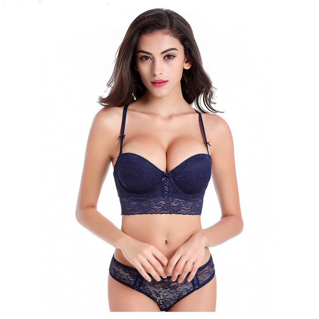 Sexy Mousse Hot Luxury Lace 1 2 Cup Y Buckle Beauty Back Sexy Women Lingerie Push Up Bra Set 19860