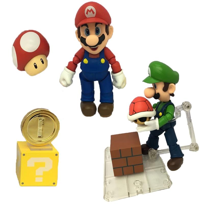 ٩(^‿^)۶12 cm Mario Luigi figma Super Mario Bros Toad kinopio ...