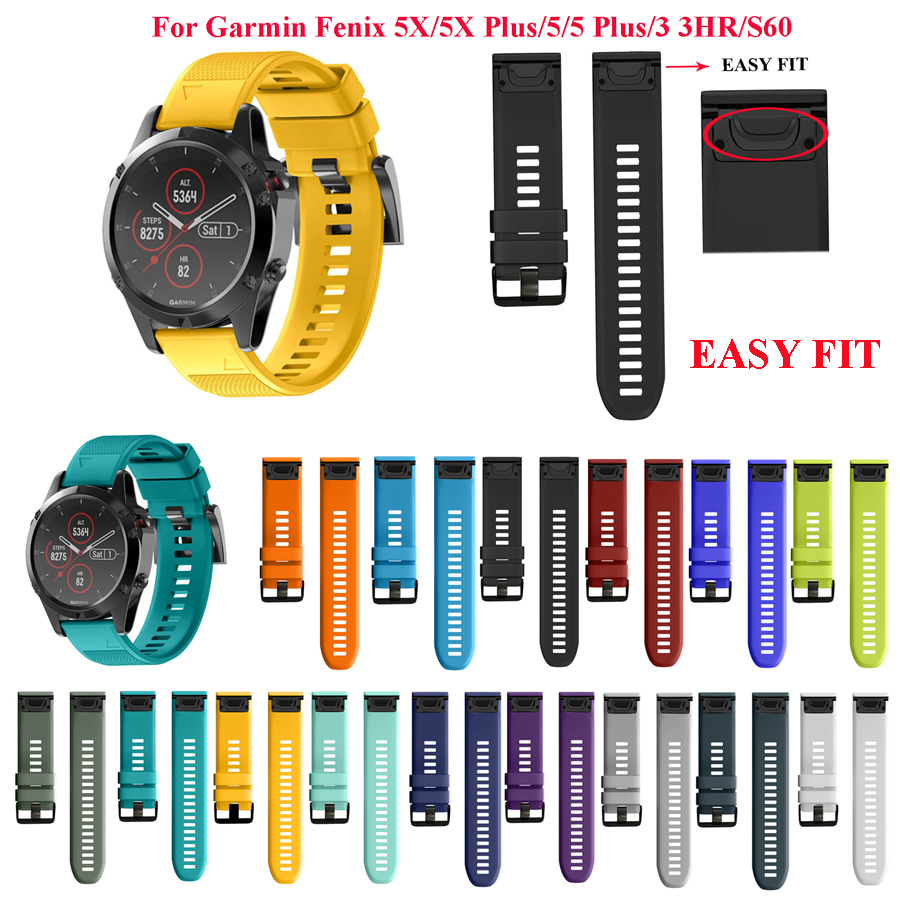 26MM 22MM Silicone Watchband Wriststrap for Garmin Fenix 5X Fenix3 3HR Fenix 5 Plus S60 MK1 Watch Easyfit Replacement Watchbands26MM 22MM Silicone Watchband Wriststrap for Garmin Fenix 5X Fenix3 3HR Fenix 5 Plus S60 MK1 Watch Easyfit Replacement Watchbands