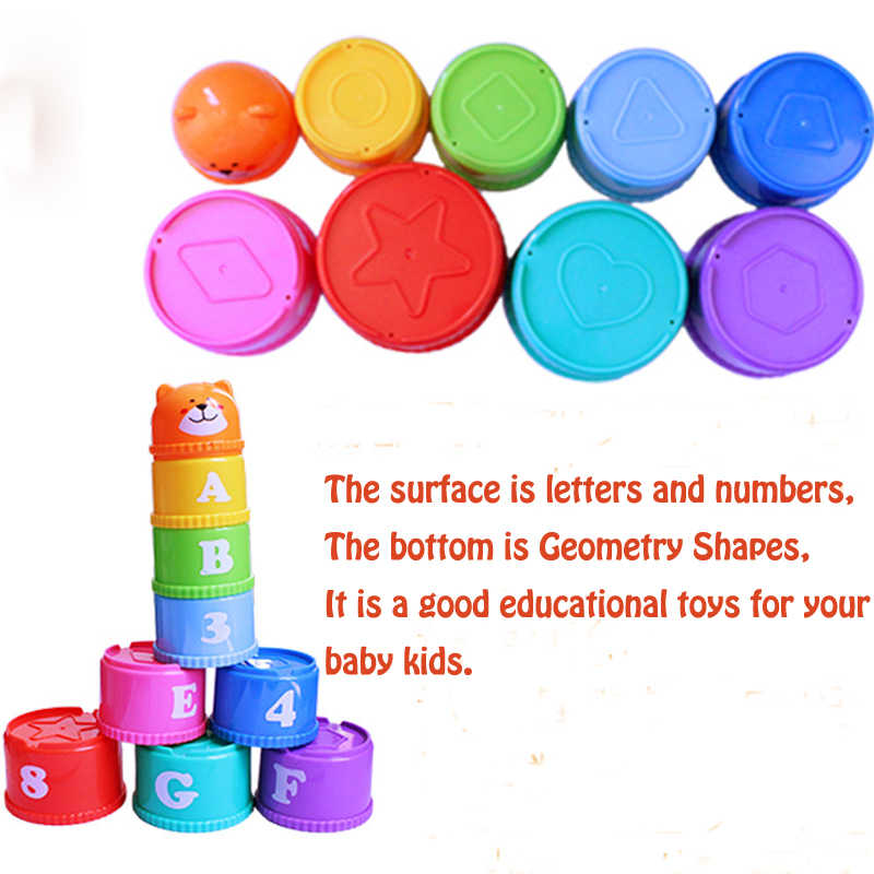 2018 Baby Funny Cartoon Nesting Stacking Toys Learning English Letters  Numbers Geometry Educational Entertainment Stacked Blocks