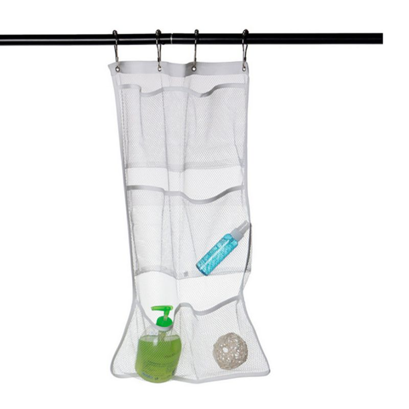 Quick Dry Caddy Bath Shower Organizer Bags With 6-pocket Hang on Shower Curtain Rod /Liner Hooks Mesh Bathroom Bags