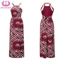 MYCOURS Boho Woman Summer Beach Dresses Ladies Sexy Halter Backless Print Red Floral Maxi Dress High