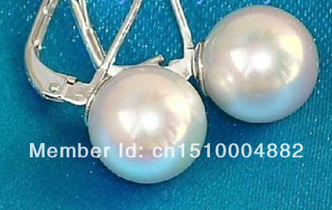 shitou 0034 12mm White Sea Shell Pearl Earrings 925Silver