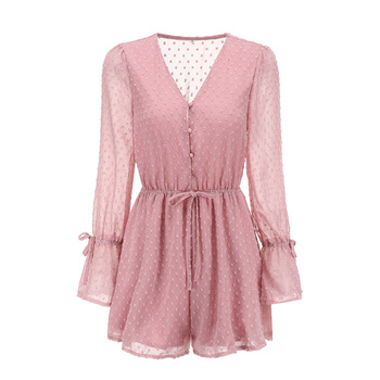 yinlinhe Sexy Transparent Playsuit Summer Bohemian Beach Overalls Pink Polka Dot Short Jumpsuit Women Rompers Long Sleeve    768 4