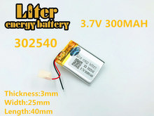 302540 3.7V 300mAh Rechargeable Li-Polymer Li-ion Battery For MP3 MP4 DVR GPS toys Speaker Driving recorder Texet T-279 302439