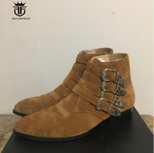 2018 FR.LANCELOT Brand Cow Suede Top Quality Four Buckles Strappy Ankle Chelsea Boots Harness Wyatte Men shoes Plus Size 46