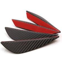 цена на MAYITR 4PCS Carbon Fiber Style Car Front Bumper Fins Lip Canards Splitter Trim Kit High Quality ABS Front Bumper Fins