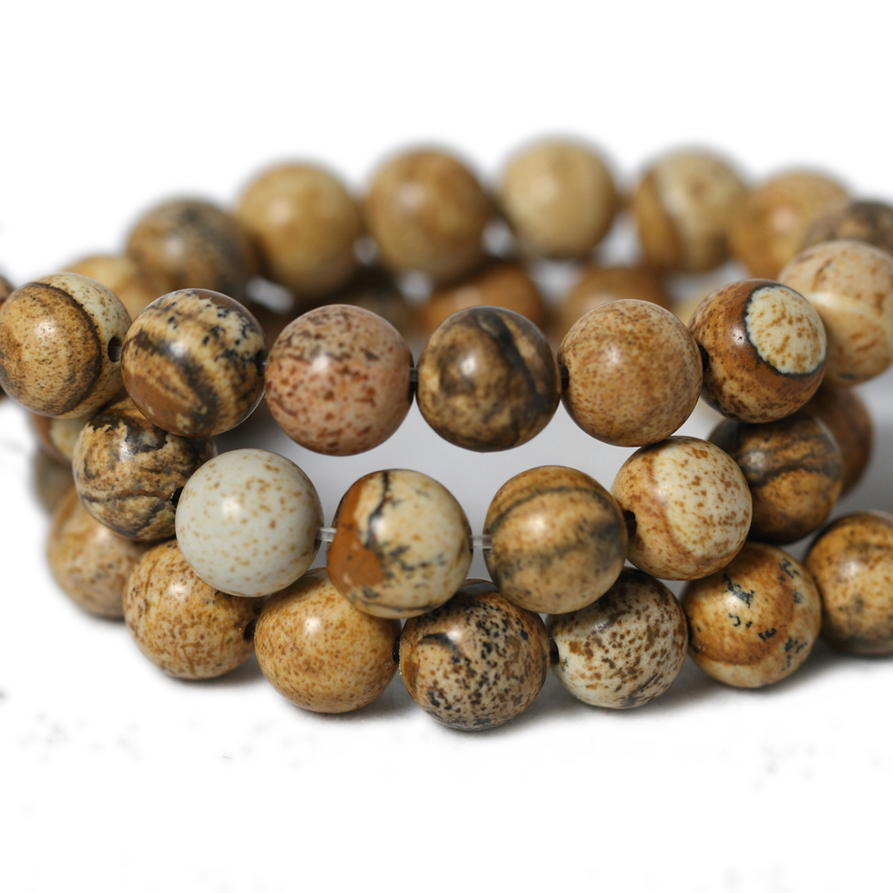 Hot Selling Natural Stone Beads Brown Round Picture Stone Beads Strand DIY For Jewelry Making bracelet