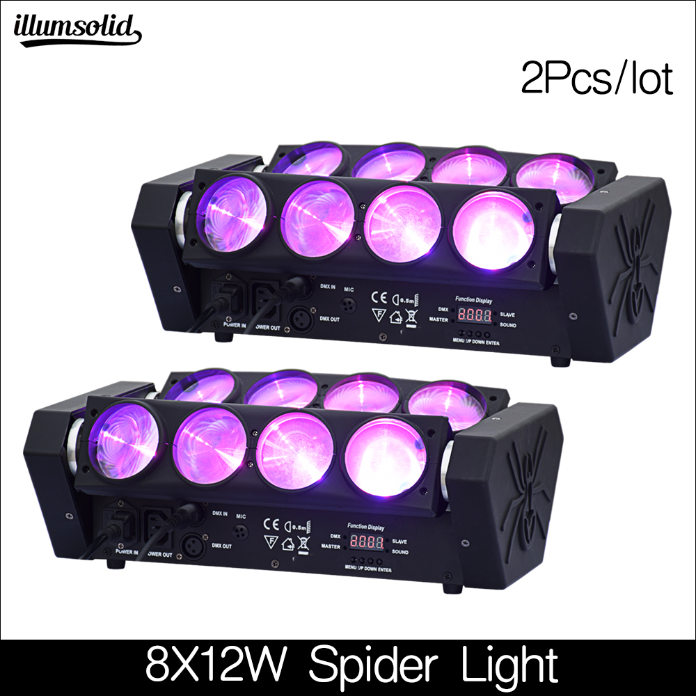 New Arrival  8x12w LED Spider Light RGBW DMX512 Sound Control Disco Lights 2Pcs/lot