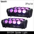 Nueva llegada 8x12w LED Luz de araña RGBW DMX512 Control de sonido luces de discoteca 2 unids/lote