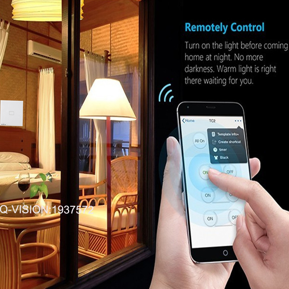 Broadlink EU UK TC2 Wireless 1 2 3 Gang Remote Control Wifi Wall Light Touch Switch 110-240V RF433 Broadlink Rm2 Rm Pro Domotica-1