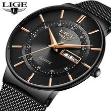 LIGE – Montre étanche ultra fine avec bracelet en acier pour homme, modèle de marque de luxe, à Quartz, décontractée, pour le sport, à porter au poignet