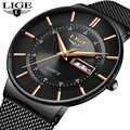 Relojes para hombre LIGE marca superior de lujo reloj de fecha ultrafino resistente al agua correa de acero para hombre reloj de cuarzo Casual reloj de pulsera deportivo para hombres