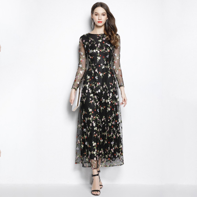 Nouvelle longueur de cheville noir à manches longues robes de soirée Robe Soiree Sexy Floral une ligne longue Robe de bal O cou Robe de soirée formelle