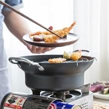 Японский стиль темпура сковорода портативная глубокая сковорода для жарки с корзиной жареные куриные горшки кухонная посуда для дома кухонная утварь