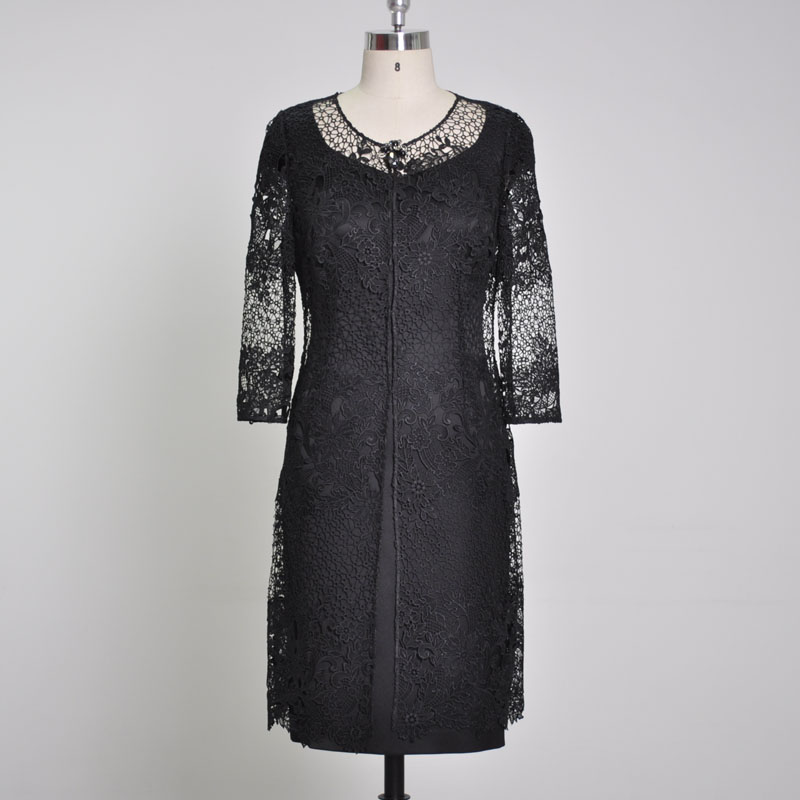 Кружевное Удлиненное пальто с жемчужинами и кристаллами, акриловое атласное акриловое Платье До Колена, черное платье из двух предметов