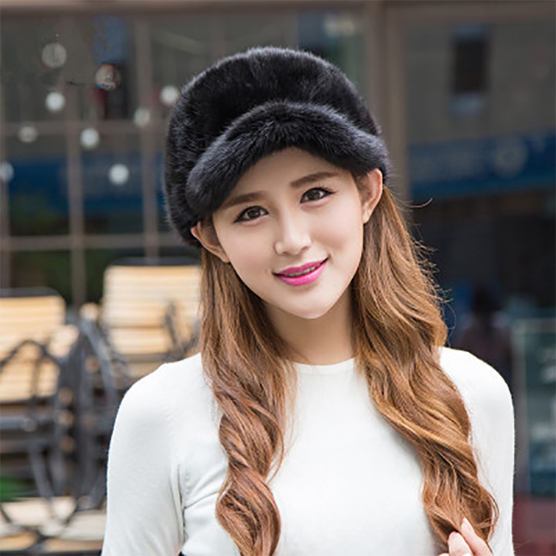 2016 High Quality Women Real Mink Fur Hat With Fox Fur Pom Top New Winter Thick