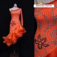 Оранжевый конкурс латинских танцов платье. Недорогое латинское танцевальное платье для девочек профессиональная юбка для самбы латиноаме