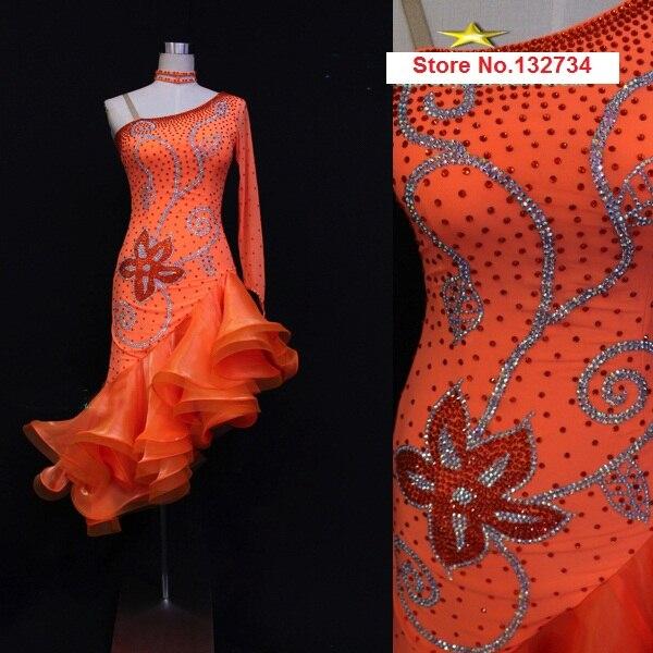 Robe de danse latine concours Orange. Robe danse latine pas cher fille jupe latine professionnelle danse Samba robes Salsa latine