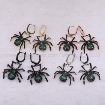 Wholesale Classic High quality Spider earrings Mix color micro pave Cubic zircon bugs earrings jewelry earrings 3204