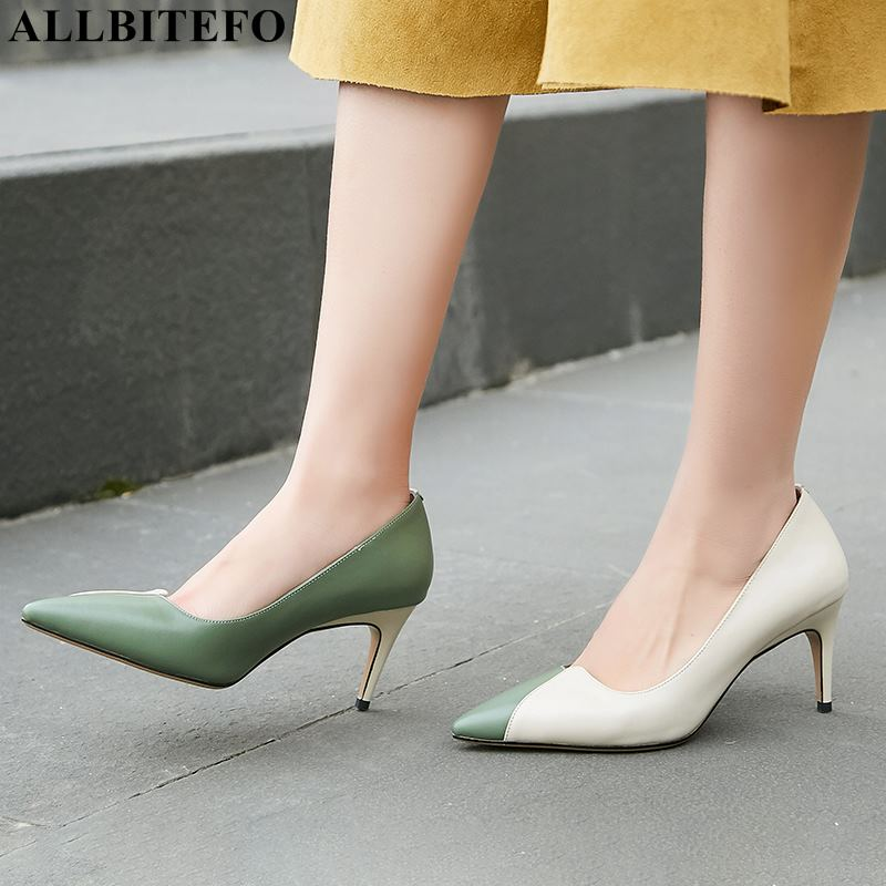 ALLBITEFO brand genuine leather women heels shoes fashion sexy high heel shoes pointed toe mixed colors