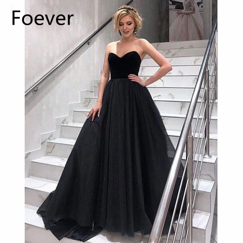 2019 Ready to ship Black Evening Dresses Long Sweetheart Floor Length Tulle Lace Up Back Formal Evening Party Dress Custom Made