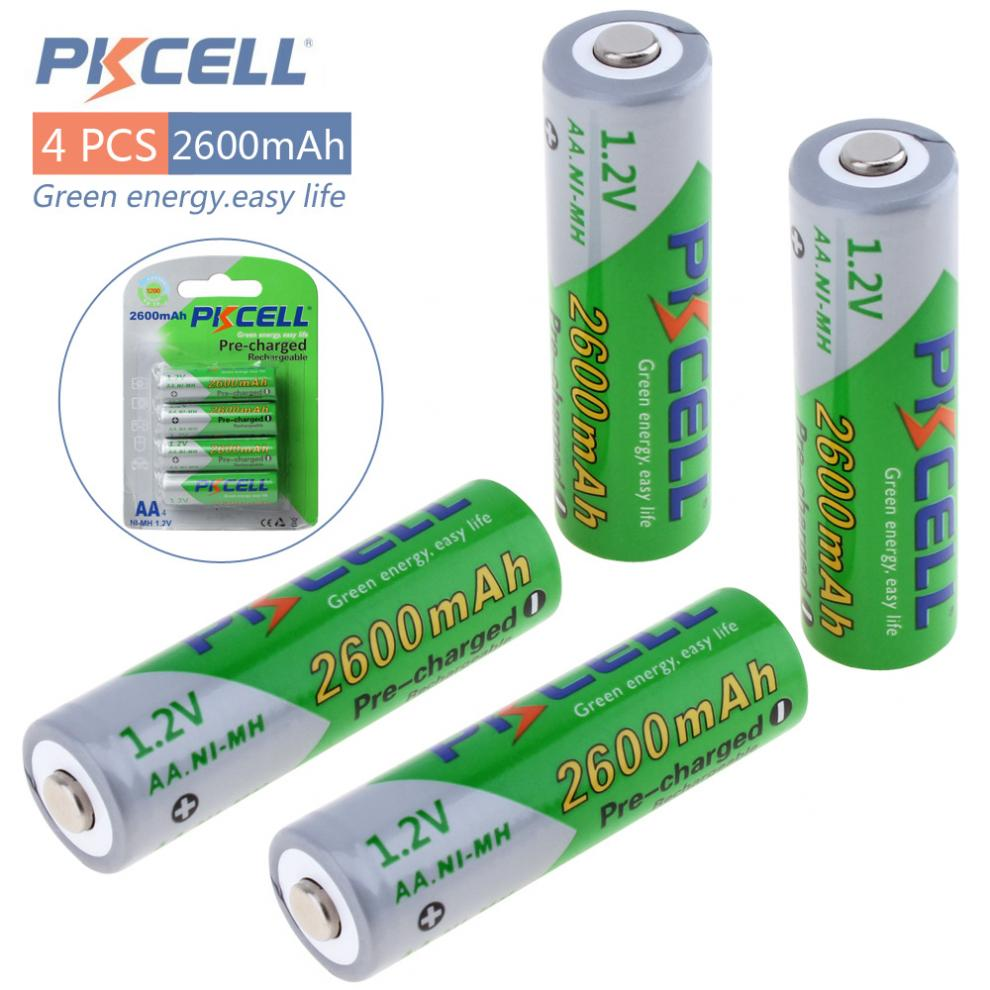 Pkcell 4 Pieces 1.2V AA 2000mAh/2600mAh Ni-Mh Rechargeable Batteries with LSD Support 2A Pre-charged pkcell 1 2v 2600mah ni mh rechargeable aa batteries blue orange 4 pcs