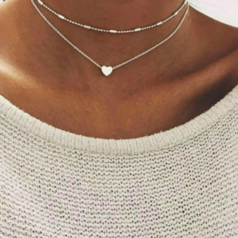 828 Hot LOLEDE Stella DOUBLE HORN PENDANT Chain Necklace Dot LUNA Necklace Women Phase Heart Necklace Drop Shipping HY05Q