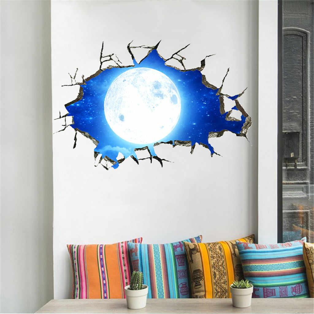 KXAAXS 3D Звезда серии стены книги по искусству пол стены стикеры Прозрачные края Съемные Фрески Виниловые Декор комнаты синий abstra # y40