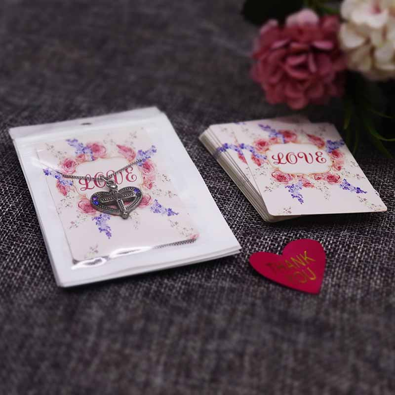 New arrival High quality 20pcs zip bags 20pcs 5 7cm necklace pendant packaging card sweet love jewelry charms display card in Jewelry Packaging Display from Jewelry Accessories