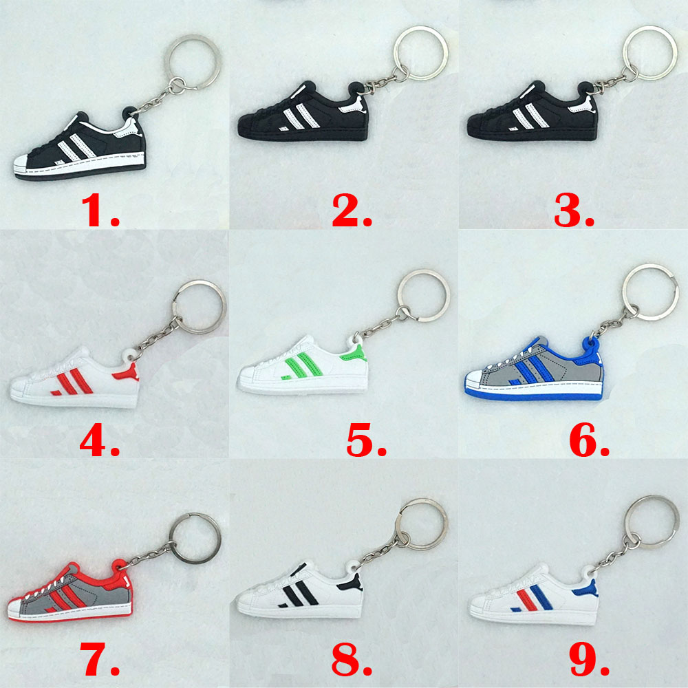 20X Silicone Jordan Shoes Superstars Keychain Key Chain Sneaker Car Key Holder Woman Men Bag Charm Accessories Key Rings Pendant