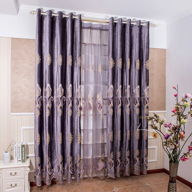 Bedroom Curtains bedroom curtains and drapes : Aliexpress.com : Buy European Purple Color Blackout / Sheer Window ...