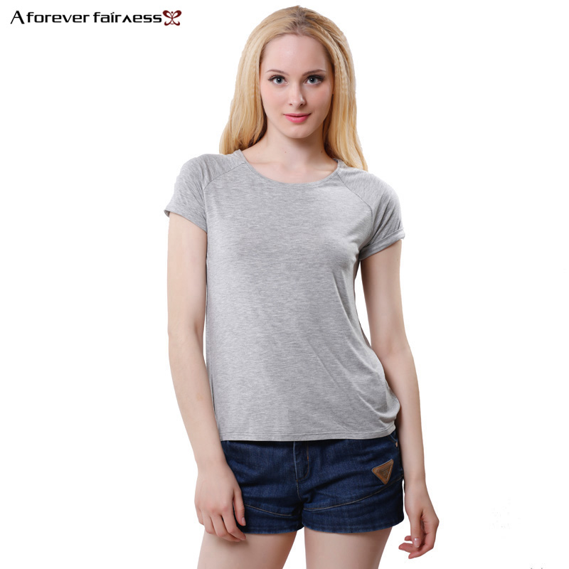 2017 new summer t shirt women tees tops solid color for Bamboo fiber t shirt