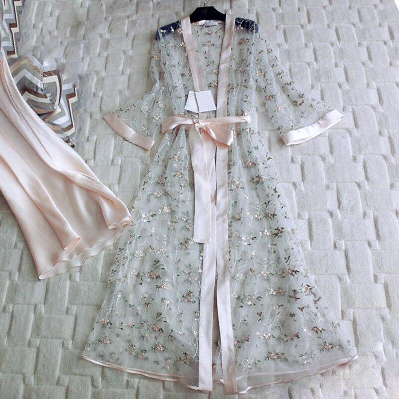Sexy Nightdress Autumn Floral Embroidered Gauze Women 2 Pieces Robes Sets Silk Inner Slip Female Elegant