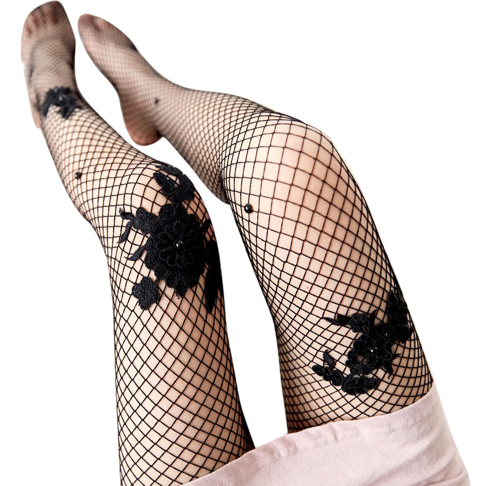 Women Sex Sock Transparent Fishnet Silk Lady Mesh Pantyhose fashion diamond socks Female 2018