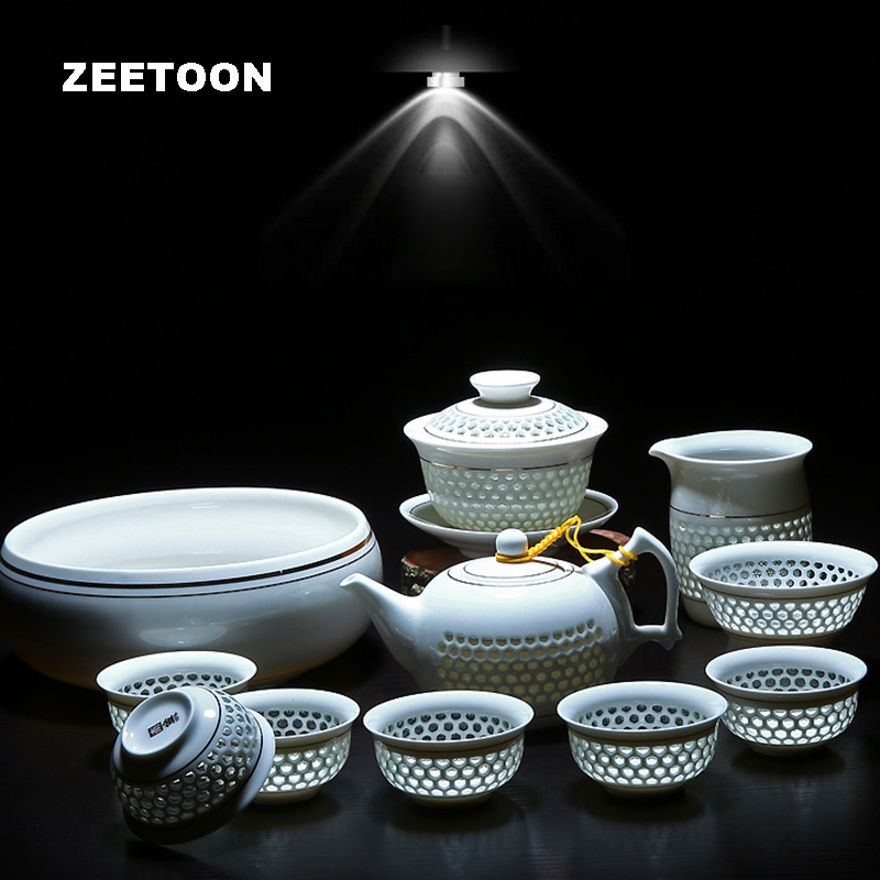11PCS Hollow Honeycomb Kung Fu Tea Set Blue and White Porcelain Drinkware Ceramic Glass Teacup Teapot Gaiwan Strainer Fair Cup