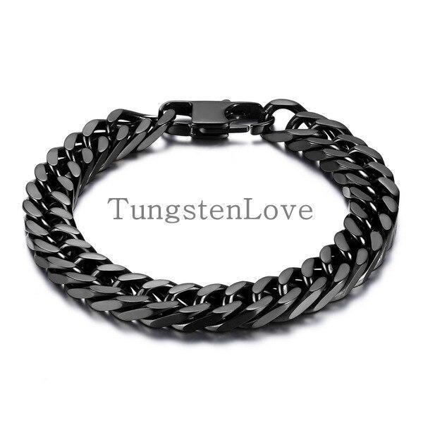 21cm 10mm Heavy Wide Black Stainless Steel Bracelet Men Biker Bicycle Motorcycle Chain S Bracelets