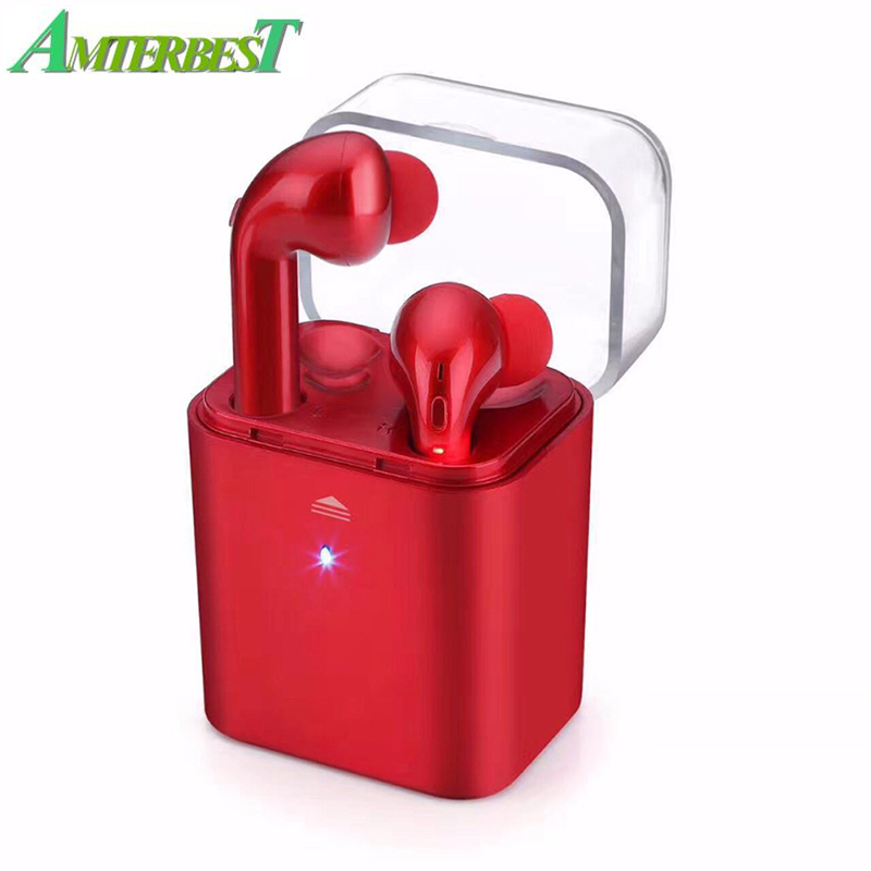 AMTERBEST TWS Bluetooth Headset Earbuds with Charging Box Hands Free Headphone Wireless Earphones for IPhone Huawei Xiaomi