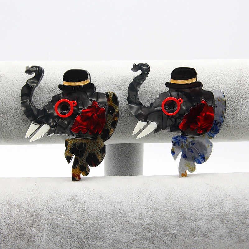 Fishpeach Besar Gajah Bros Tekstur Akrilik Bros untuk Wanita Anak Syal Tas Korsase Pin Hewan Perhiasan Aksesoris