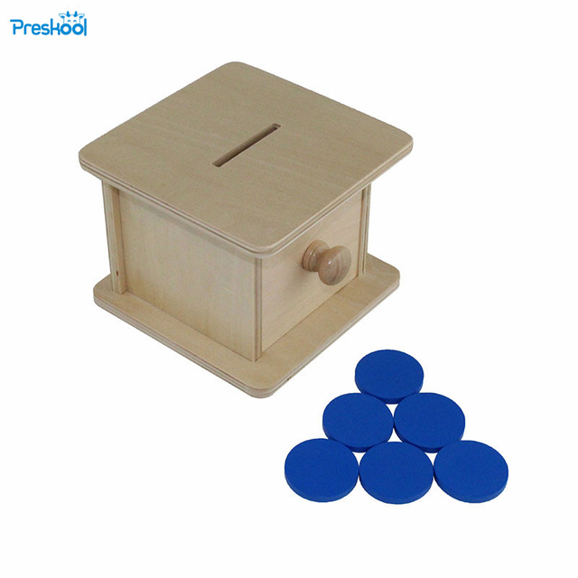 Montessori infant Toy Baby Wood Coin Box Piggy Bank Learning Educational Preschool Training Brinquedos Juguets 24 months toys