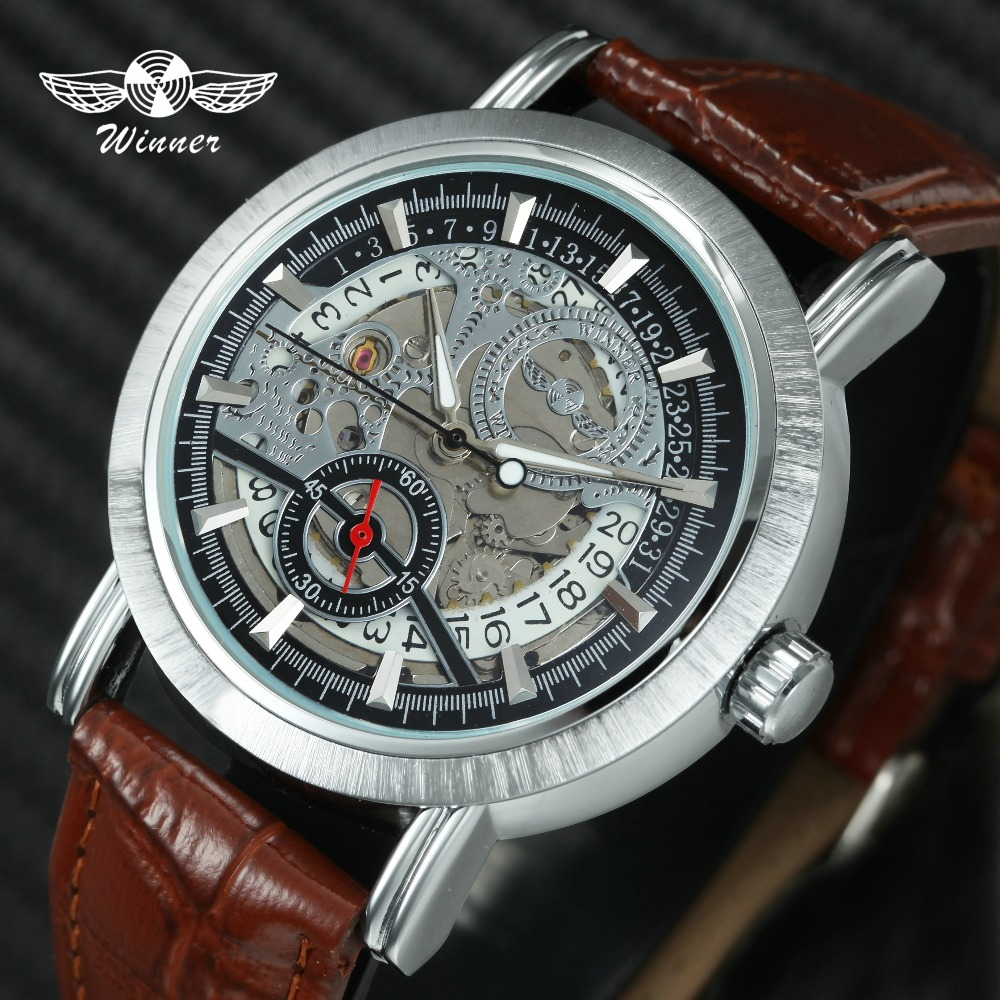 Watches The Cheapest Price Winner Men Dress Fashion Automatic Mechanical Watch Leather Strap Super Roman Number Skeleton Dial Cool Black Design Wristwatch Men's Watches